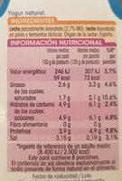 Yogur natural - Informació nutricional
