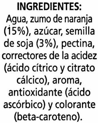 """Bebida de zumo y soja """"Alipende"""" Naranja - Ingrédients"""