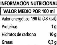 """Bebida de zumo y soja """"Alipende"""" Naranja - Informations nutritionnelles"""