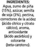 """Bebida de zumo y soja """"Alipende"""" Piña - Ingrediënten"""