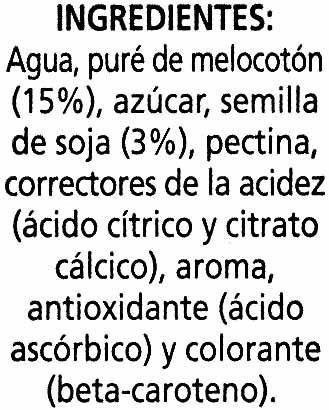"""Bebida de zumo y soja """"Alipende"""" Melocotón - Ingredientes"""