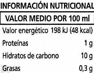"""Bebida de zumo y soja """"Alipende"""" Melocotón - Información nutricional"""
