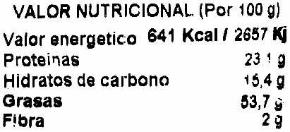 Semillas de girasol con cáscara tostadas con sal - Informació nutricional - es