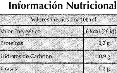 Caldo de Verduras y Hortalizas - Información nutricional - es