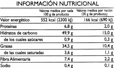 """Patatas fritas lisas """"Alipende"""" - Información nutricional - es"""