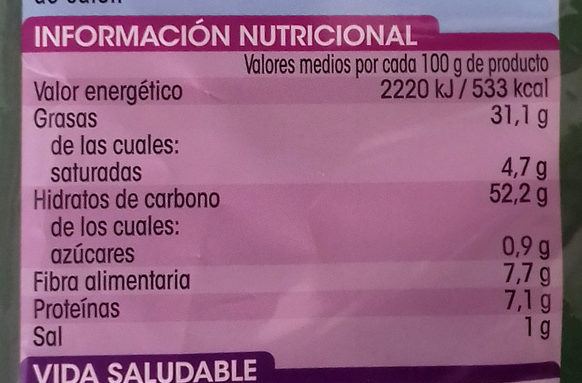 Patatas Fritas en Aceite de Oliva - Informations nutritionnelles