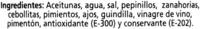 """Aceitunas verdes partidas aliñadas a la gazpacha """"Alipende"""" Variedad Manzanilla - Ingredientes"""