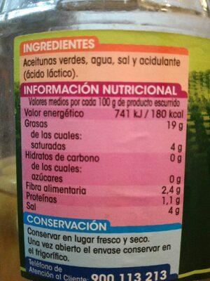 Aceitunas verdes manzanilla sin hueso - Ingredients - es