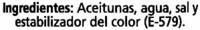 "Aceitunas negras en rodajas ""Alipende"" - Ingredients"
