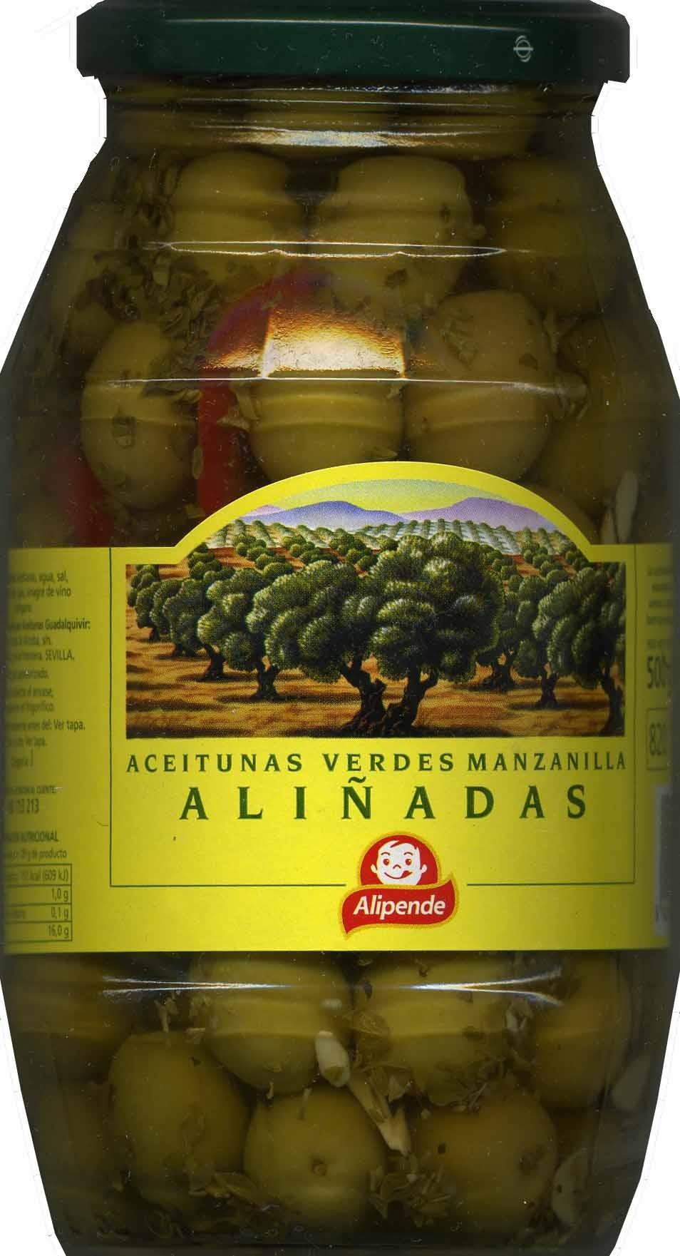 """Aceitunas verdes enteras aliñadas """"Alipende"""" Variedad Manzanilla - Producte - es"""