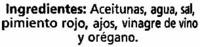"""Aceitunas verdes enteras aliñadas """"Alipende"""" Variedad Manzanilla - Ingredients - es"""