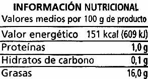 """Aceitunas verdes enteras aliñadas """"Alipende"""" Variedad Manzanilla - Informació nutricional - es"""