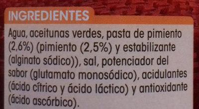 Aceitunas Verdes Manzanilla rellenas de pimiento - Ingredients