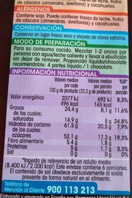 Chocolate a la taza - Información nutricional - es