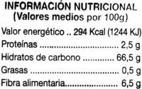 """Uvas pasas """"Alipende"""" Variedad Sultana - Información nutricional - es"""