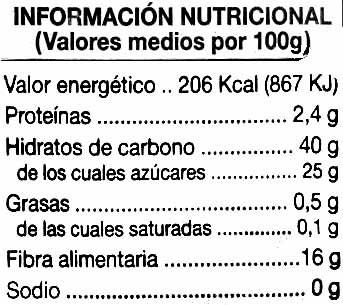 Ciruelas con hueso - Información nutricional - es