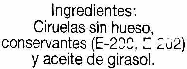 "Ciruelas pasas sin hueso ""Alipende"" - Ingredientes"
