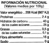 """Ciruelas pasas sin hueso """"Alipende"""" - Información nutricional"""