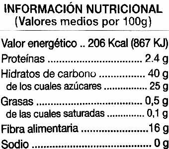 """Ciruelas pasas sin hueso """"Alipende"""" - Nutrition facts"""