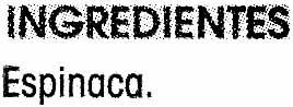 Espinaca - Ingrediënten