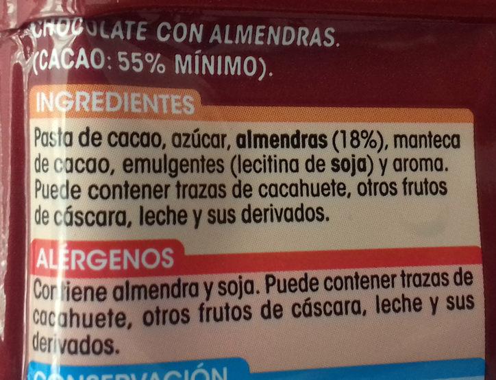 Chocolate puro con almendras - Ingredientes