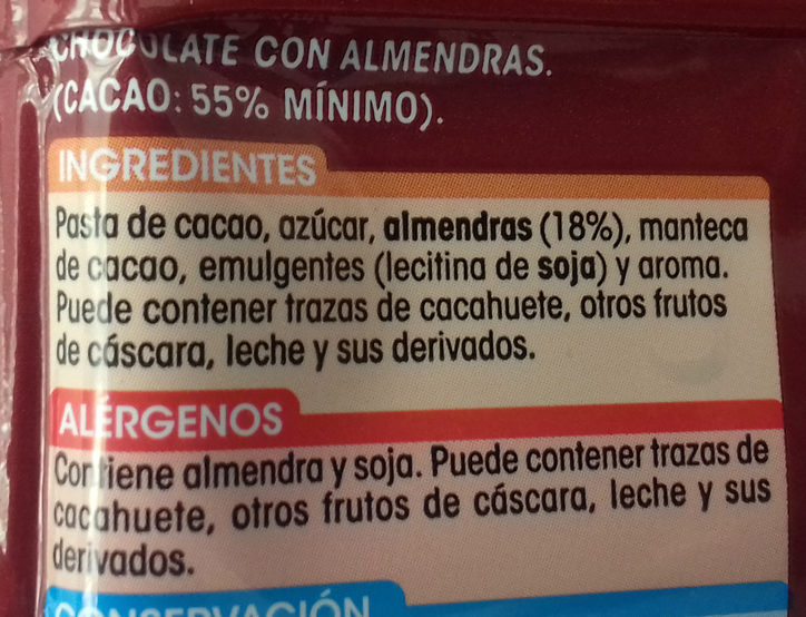 Chocolate puro con almendras - Ingredients