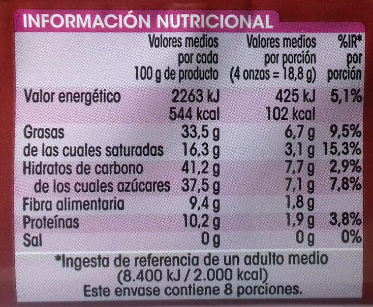 Chocolate puro con almendras - Informació nutricional