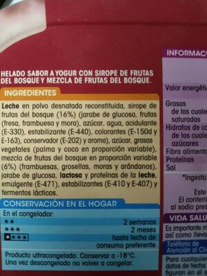 Helado Sabor Yogur con Frutas del bosque - Ingrédients - es