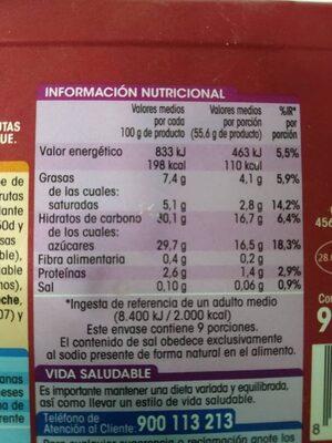 Helado Sabor Yogur con Frutas del bosque - Informations nutritionnelles - es