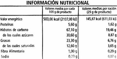Cookies con chocolate negro - Informació nutricional - es