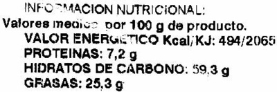 "Cortezas de trigo ""Alipende"" - Información nutricional"