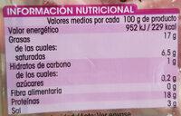 Tiras de bacon ahumado - Informations nutritionnelles - es