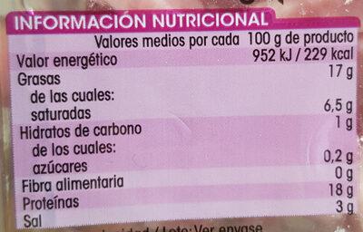 Tiras de bacon ahumado - Información nutricional
