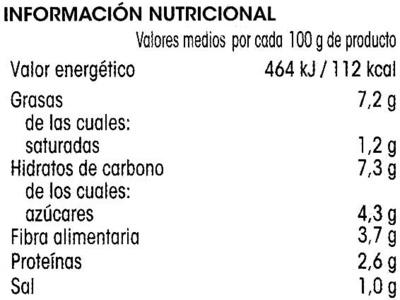Menestra de verduras - Informació nutricional - es