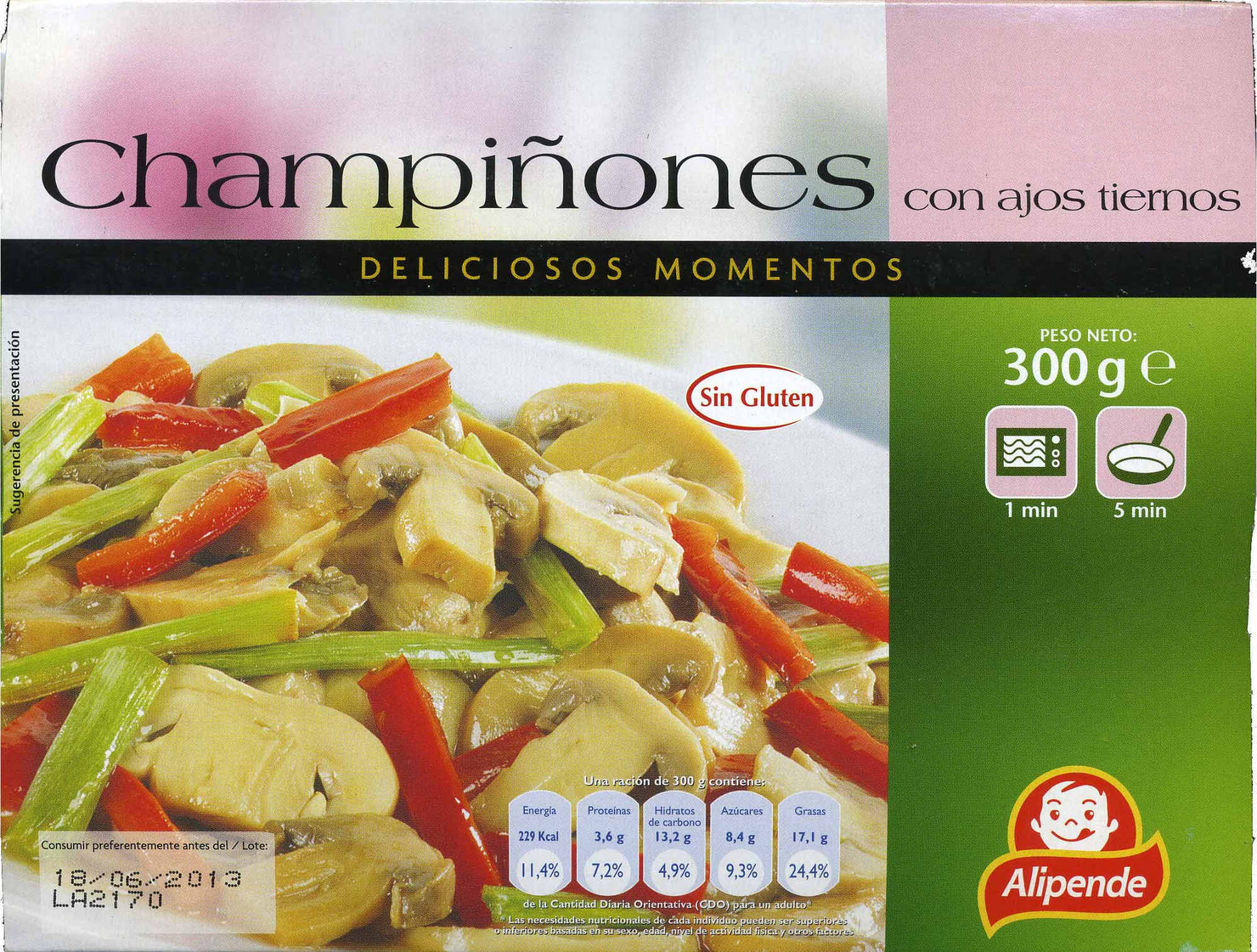 Champiñones con ajos tiernos - Produit