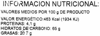 """Aperitivo de patatas """"Alipende"""" - Información nutricional"""