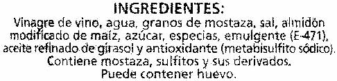 """Salsa de mostaza """"Alipende"""" - DESCATALOGADO - Ingredients"""