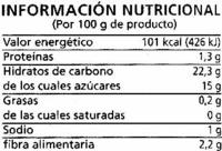 """Salsa kétchup """"Alipende"""" - Información nutricional"""