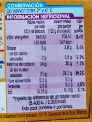 Natillas con Galleta - Nutrition facts