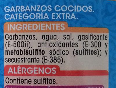 Garbanzos extra - Ingredientes