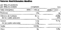 Patatas prefritas corte tradicional - Voedigswaarden