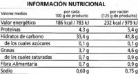 Arroz cocido Basmati - Información nutricional
