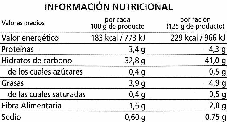 Arroz cocido integral - Nutrition facts - es