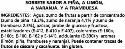 Helados de hielo con zumo de frutas - Ingrediënten - es