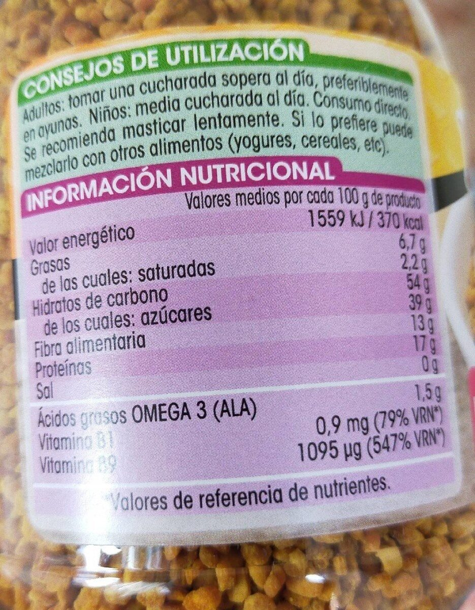 Polen de flores - Nutrition facts - es