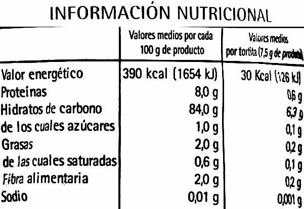 Tortitas de arroz integral bajas en sal - Informations nutritionnelles