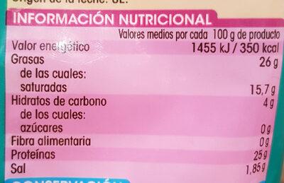 Queso rallado 5 quesos - Nutrition facts