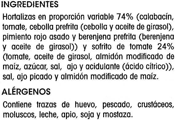 Pisto de hortalizas - Ingredients