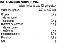 Pisto de hortalizas - Informació nutricional