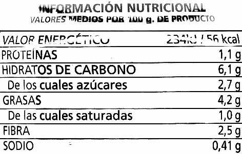 Tumaca - Información nutricional